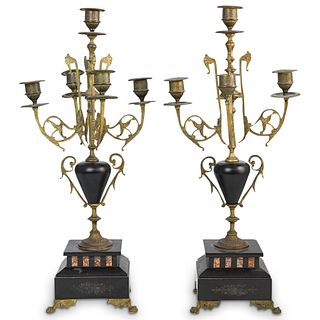 (2 Pc) Pair of Empire Style Table Candelabra