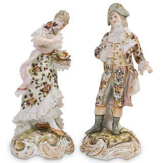 (2 Pc) Antique Sitzendorf German Porcelain Figurines