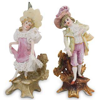 (2 Pc) Pair of Antique German Porcelain Figurines