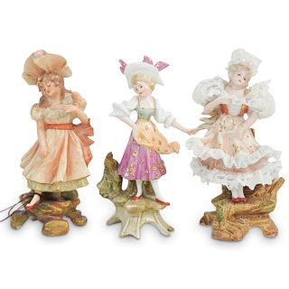 (3 Pc) Antique Dresden Porcelain Figurines Grouping