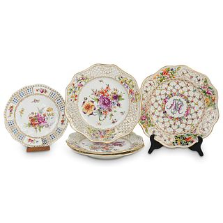 (5 Pc) Dresden Reticulated Porcelain Plates