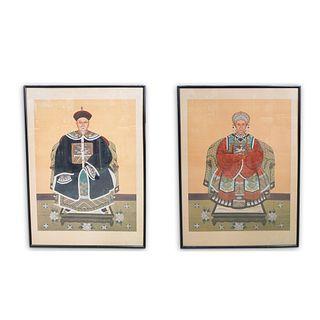 Pair of Chinese Silk Paintings