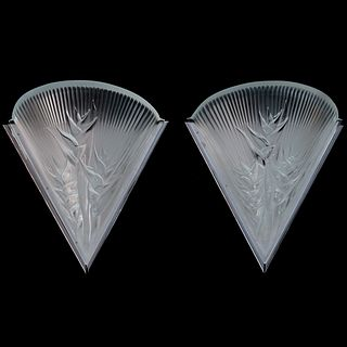 "Lalique ""Heliconia"" Crystal Wall Sconces"