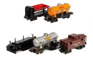 2654 Sunoco Tank Car, 2654 Shell Tank Car, 3651 Log Dump Car, 3659 Coal Dump, 2672 Pennsylvania Caboose