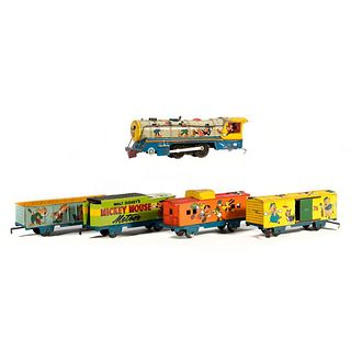 Marx Mickey Mouse windup Locomotive and Tender, Boxcar, Gondola, Caboose