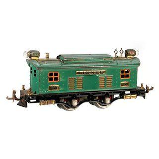 Lionel 253 locomotive, Peacock Blue with orange window trim.