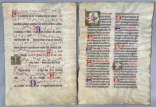 Two Antiphonary Leaves, Historiated Initials