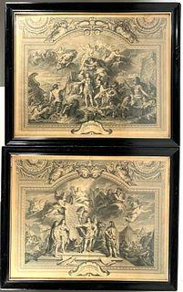 Pair of Engravings After Charles Le Brun, Le Roi, Grand Galerie de Versailles