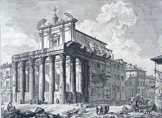 """G.B. Piranesi Engraving, """" Veduta del Tempio Antonino e Faustina in Campo Vaccino"""""""