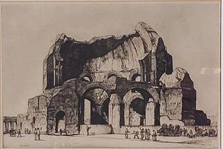 Louis Conrad Rosenberg Drypoint, Temple of Minerva Medica
