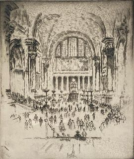 Joseph Pennell Etching, 'The Marble Hall, Pennsylvania Station'