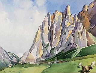 Arcangelo Salvarani Watercolor, ' Pyrenees Mountains--Spain'