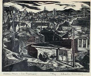 Charles Surendorf Wood Engraving, 'Russian Town, San Francisco'