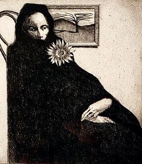 Bill Brauer Etching, 'Lady in Black'