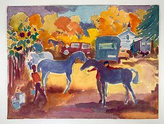 Algesa O'Sickey Watercolor, Horse Show Preparations