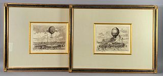 After Pierre Albert LeRoux, Two Ballooning Prints
