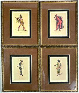 Four Framed Commedia Dell'Arte Figures