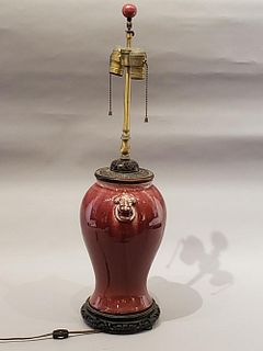 Chinese Oxblood Glaze Porcelain Vase as Lamp