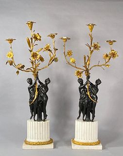 A Pair of French Bronze and Marble Figural Candelabra, 19thc.