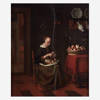 Reynier Covyn (Flemish, 1636–D.C. 1681), , Woman Peeling Apples