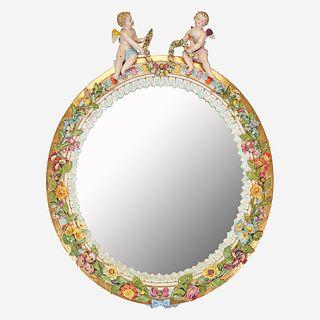 A Meissen Figural Mirror, Late 19th century