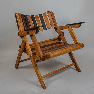 Silla plegable en madera tropical a 2 tonos / Tropical wood foldable chair