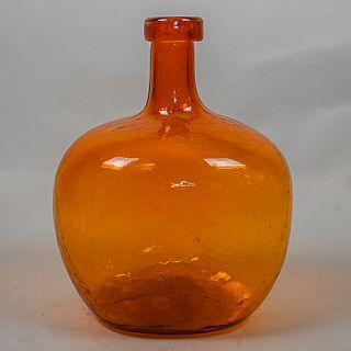 Botella mezcalera de vidrio soplado naranja / Orange blown glass mezcal bottle