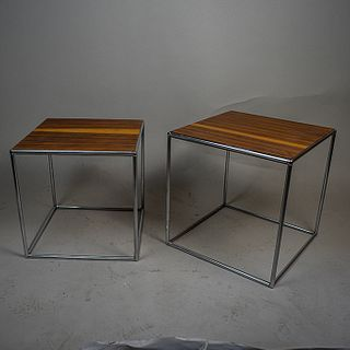 Par de mesas laterales nido en acero cromado y nogal / Walnut plywood and chrome nest tables
