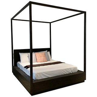 Queen Size Canopy Bed in Oak & Brass by Van Thiels