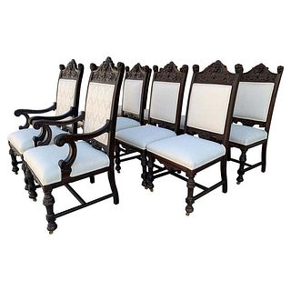 Set of 10 High Back Chairs With Carved Wooden Frames