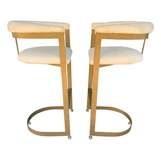 Pair of Cantilever Barstools with Metal Frames