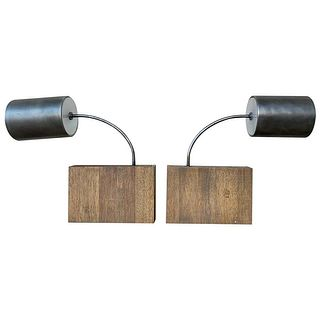 Pair of wall sconces with Wood Block Bases