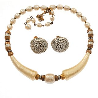 Miriam Haskell Faux Pearl Collar and Ear Clips