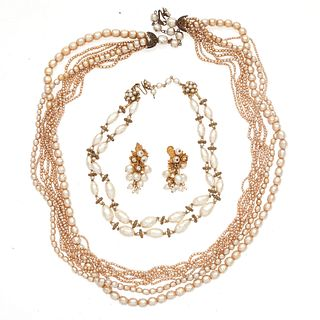 Collection of Miriam Haskell Faux Pearl Jewelry