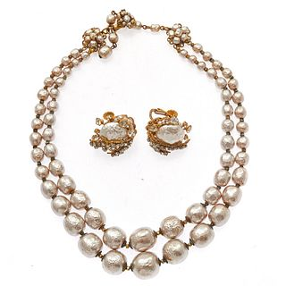 Miriam Haskell Faux Pearl, Rhinestone Jewelry Suite