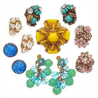 Collection of Vintage Miriam Haskell Earrings and Pin