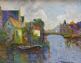 Dutch Impressionist Dock Painting