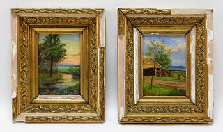 2PC Antoon Van Leemputten Landscape Paintings