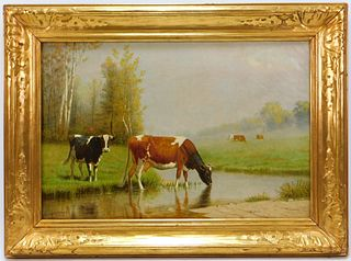 Clinton Loveridge Impressionist Cows Painting