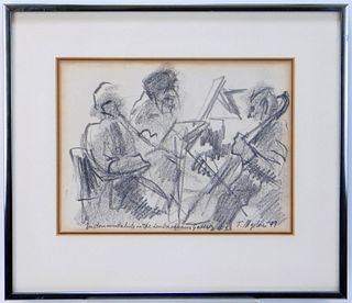 German Expressionist String Trio Charcoal Drawing