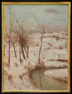 Svend Svendsen O/C Winter Landscape Painting