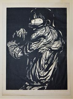 Leonard Baskin Football Woodblock Print