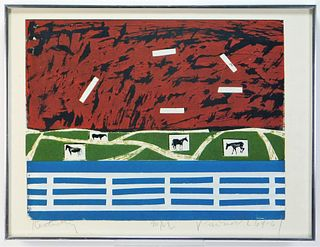 1964 Modern Abstract Kentucky Horse Silkscreen