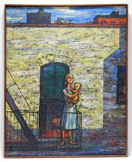 Samuel Norkin Social Realist City Mother Painting
