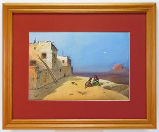 Impressionist Native American Western WC Painting