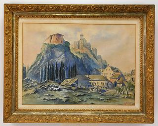 Signed European Castle Landscape WC Painting