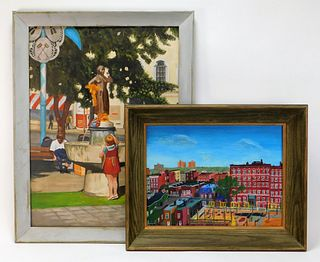 2PC American Folk Naive Townscape Paintings