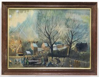 WWII Air Raids Over England WC Painting