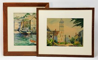 2PC Massachusetts Impressionist WC Paintings