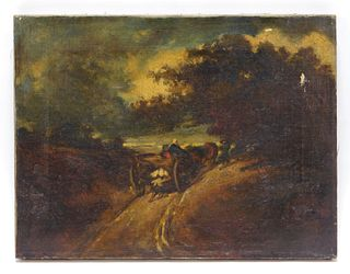 19C French Barbizon School Farm Wagon Painting
